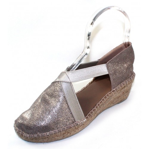Andre Assous Women's Conner In Pewter Brushed Metallic Suede/Stretch Elastic