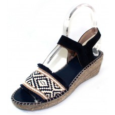 Andre Assous Women's Dana In Navy Blue/White/Beige Woven Fabric/Navy Blue Suede