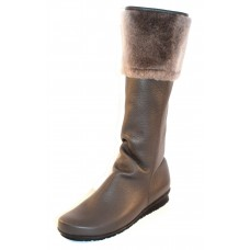 Arche Women's Barett In Castor Hopi Leather/Grey Mouton Shearling - Grey