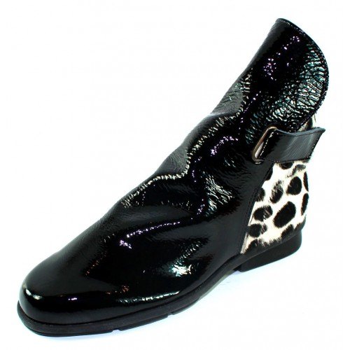 Arche Women's Delzi In Noir Lakna Crinkle Patent Leather/Dalmy Poulain Spotted Hair Calf - Black