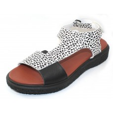 Arche Women's Janaka In Noir Roy Embossed Animal Print Leather/Leather - Black