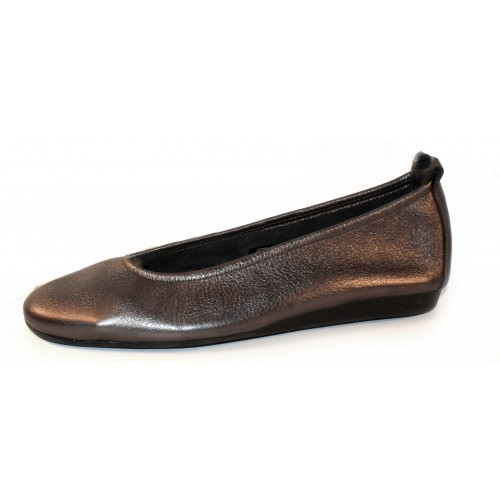 Arche Women's Laius In Basalt Shade Metallic Leather/Noir Leather Insole - Pewter/Black