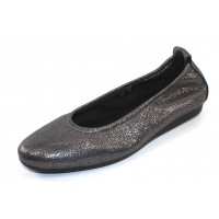 Arche Women's Laius In Etain Manta Pebble Grain Embossed Metallic Leather - Metallic Charcoal