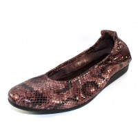 Arche Women's Laius In Stone Alison Embossed Snake Printed Patent Leather - Brown