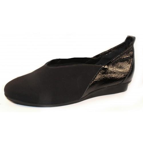 Arche Women's Nino In Noir Stretch Microfiber/Lack Patent Leather - Black