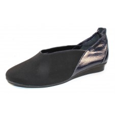 Arche Women's Nino In Noir Stretch Microfiber/Rousseau Lack Patent Leather - Black/Cobalt
