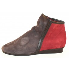 Arche Women's Ninote In Lauze Nubuck/Noir Leather/Rioja Nubuck - Dark Grey/Black/Burgundy
