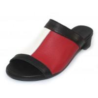Arche Women's Obiska In Blanc/Feu/Noir Rocky Grain Leather - White/Red/Black