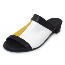 Arche Women's Obiska In Nocturne/Blanc Rocky Grain Leather - Yellow/White/Black