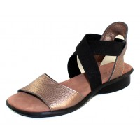 Arche Women's Satia In Moon Fast Metallic Leather/Noir Microfiber - Bronze/Black