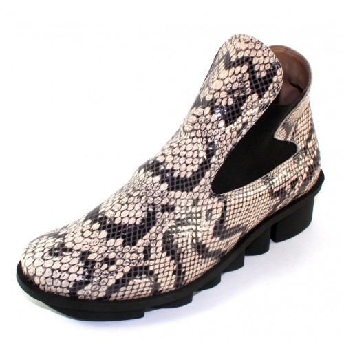 Arche Women's Skatch In Granite Allison Snake Printed Leather/Elastic - Black