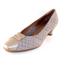 Beautifeel Women's April In Taupe Linen Printed Suede/Patent Leather