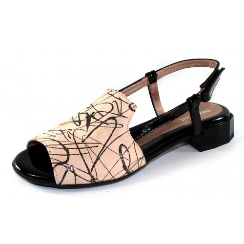 Beautifeel Women's Carla In Nude/Black Fantasy Embossed Suede/Black Patent Leather
