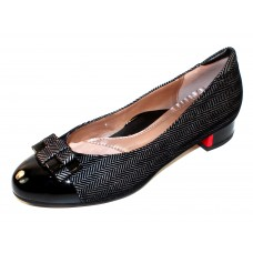 Beautifeel Women's Etta In Silver Embossed Black 3D Spigato Suede/Black Patent Leather