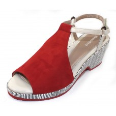 Beautifeel Women's Kya In Flame Red Suede/Off White Patent Leather