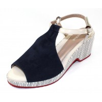 Beautifeel Women's Kya In Navy Suede/Line Art Embossed Suede/Bone Patent Leather