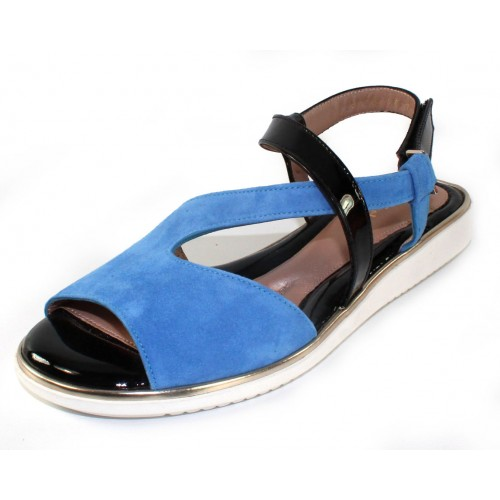 Beautifeel Women's Lago In Soft Blue Suede/Black Patent Leather