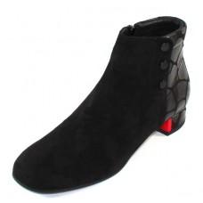 Beautifeel Women's Lida In Black Suede/Grande Embossed Leather