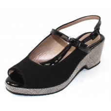 Beautifeel Women's Quinn In Black Suede/Patent Leather/Stone Mosaic Embossed Suede