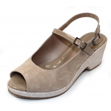 Beautifeel Women's Quinn In Nude Suede/Beige Patent Leather/White Mosiac