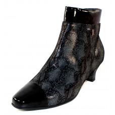 Beautifeel Women's Robin In Black Embossed Snakeskin Printed Rejuis Suede/Patent Leather