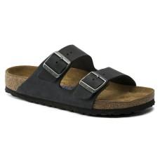 Birkenstock Women's Arizona Soft Footbed In Black Oiled Leather