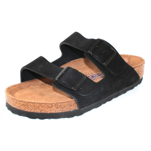 Birkenstock Women's Arizona Soft Footbed In Black Suede - Regular Width