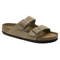 Birkenstock Women's Arizona Soft Footbed In Taupe Suede - Regular Width