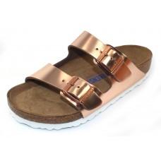 Birkenstock Women's Arizona Soft Footbed In Metallic Copper Leather