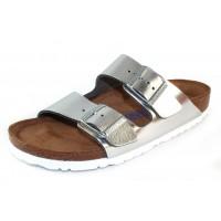 Birkenstock Women's Arizona Soft Footbed In Silver Leather