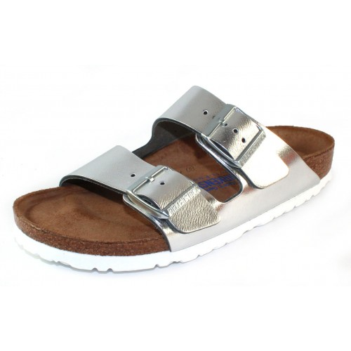 Birkenstock Women's Arizona Soft Footbed In Silver Leather