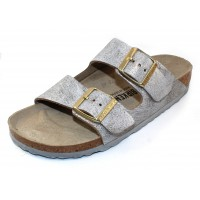 Birkenstock Women's Arizona In Washed Metallic Blue Leather