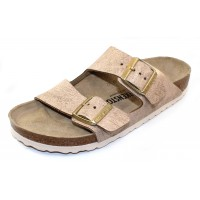 Birkenstock Women's Arizona In Washed Metallic Rose Leather