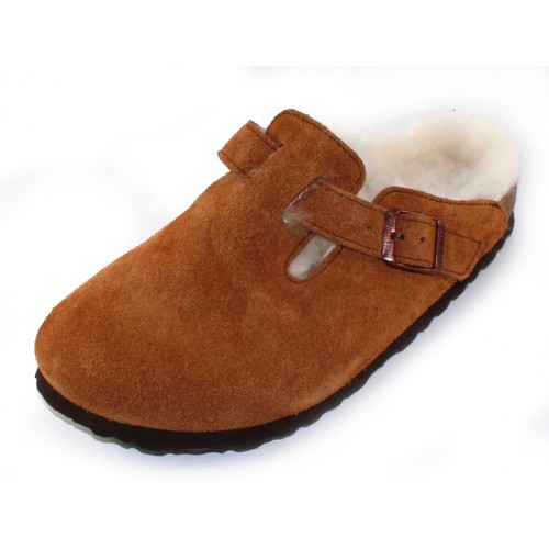 Birkenstock Women's Boston In Mink Suede/Shearling