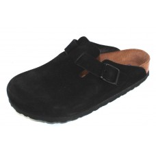 Birkenstock Women's Boston Soft Footbed In Black Suede