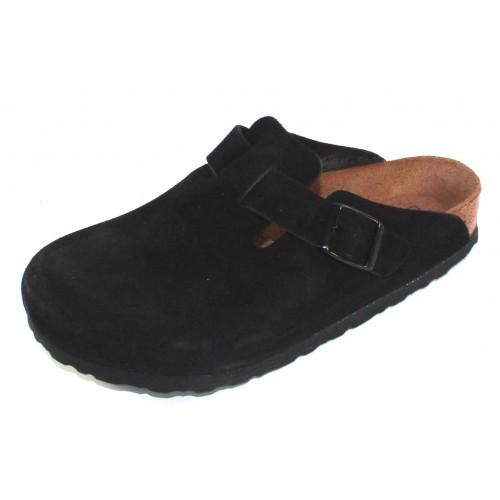 Birkenstock Women's Boston Soft Footbed In Black Suede