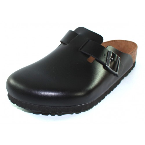 Birkenstock Men's Boston Soft Footbed In Black Amalfi Leather