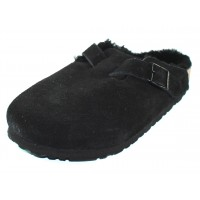 Birkenstock Women's Boston In Black Suede/Shearling