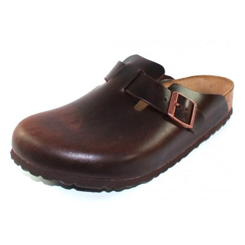 Birkenstock Men's Boston Soft Footbed In Brown Amalfi Leather