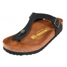 Birkenstock Women's Gizeh In Black Oiled Leather