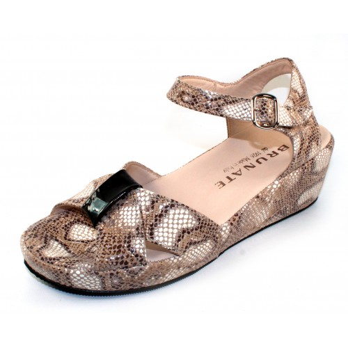 Brunate Women's Buddy 553 In Nut Brown/Beige Snake Printed Leather/Black Patent Leather