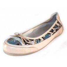 Candice Cooper Women's Cora In Blue Embossed Reptile Printed Leather/Beige Leather