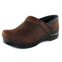 Dansko Women's Narrow Pro In Antique Brown Oiled Leather