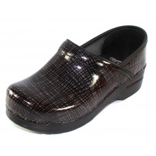 Dansko Women's Professional In Silver Black Crisscross Patent Leather