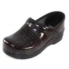 Dansko Women's Professional In Silver Black Crisscross Patent Leather