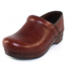 Dansko Women's Professional Xp In Brown Floral Tooled Leather