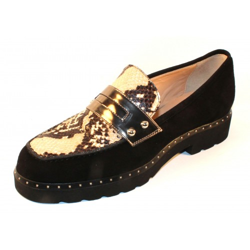 Di Chenzo Women's Hannah In Black Suede/Black/White Pitone Embossed Snake Printed Leather