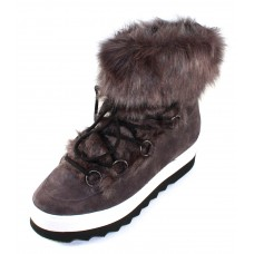 Hogl Women's 101827 In Dark Grey Velour Suede/Faux Fur 600