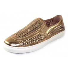 J Slides Women's Cut Up In Gold Metallic Leather