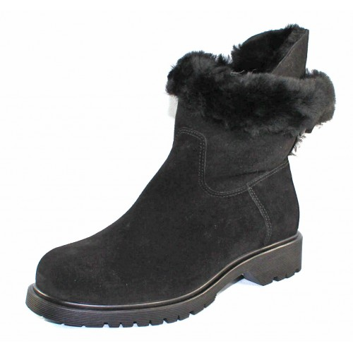 La Canadienne Women's Honey In Black Waterproof Suede/Shearling